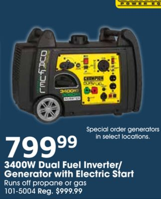 Get Champion 3400W Dual Fuel Inverter/ Generator with
