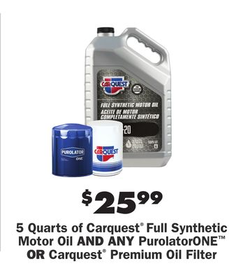 5 Quarts Of Carquest Full Synthetic Motor Oil And Any