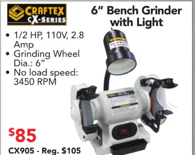 Tremendous Craftex 6 Bench Grinder Series With Light 12 Hp 110V 28 Amp Pdpeps Interior Chair Design Pdpepsorg