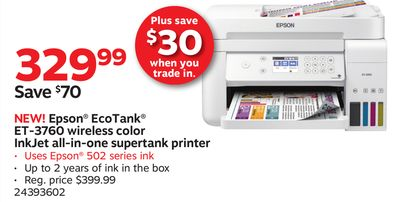 Get Epson® EcoTank® ET-3760 wireless color InkJet all-in-one
