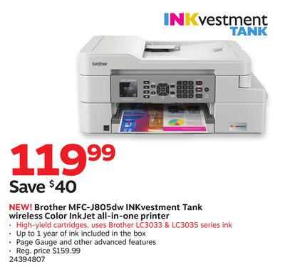 Get Brother MFC-J805dw INKvestment Tank wireless Color