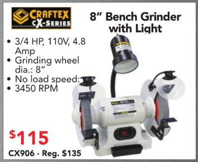 Terrific Get Craftex 8 Bench Grinder X Series With Light 3 4 Hp 110V Pdpeps Interior Chair Design Pdpepsorg
