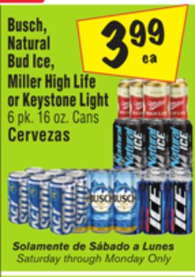 Buy Busch, Natural Bud Ice, Miller High Life or Keystone