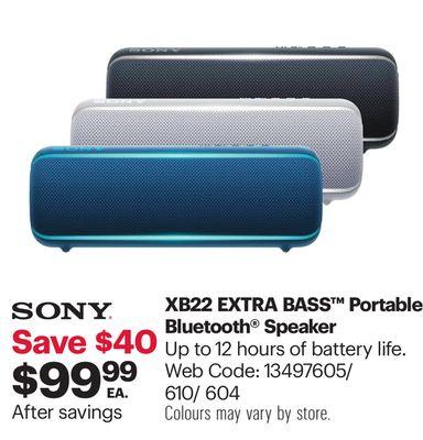 Sony Xb22 Extra Bass Waterproof Bluetooth Wireless Speaker
