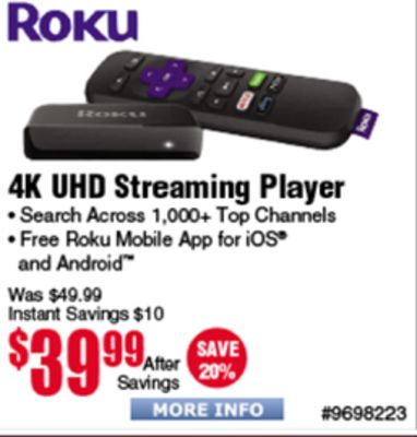 Buy Roku 2030- 4K UHD Streaming Player Search Across 1 000+