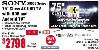 Buy SONY  X950G Series 75