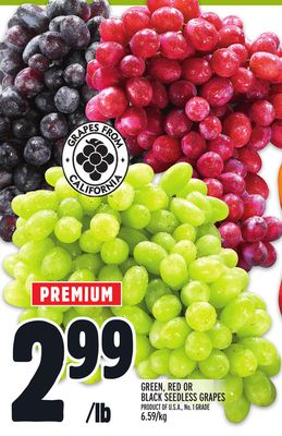 GREEN, RED OR BLACK SEEDLESS GRAPES