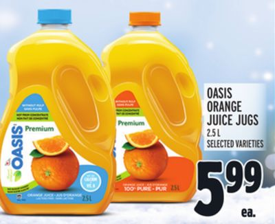OASIS ORANGE JUICE JUGS