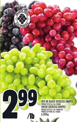 RED OR BLACK SEEDLESS GRAPES