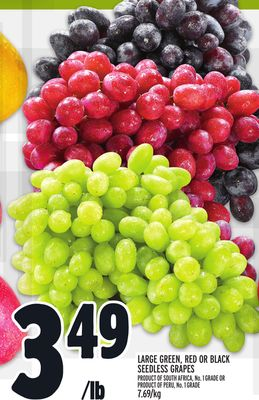 LARGE GREEN, RED OR BLACK SEEDLESS GRAPES