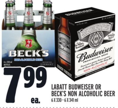 LABATT BUDWEISER OR BECK'S NON ALCOHOLIC BEER
