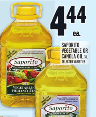 SAPORITO VEGETABLE OR CANOLA OIL
