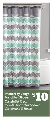 Interiors by Design Microfiber Shower Curtain Set