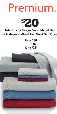 Interiors by Design Embroidered Hem or Embossed Microfiber Sheet Set, Queen