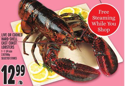 LIVE OR COOKED HARD-SHELL EAST COAST LOBSTERS