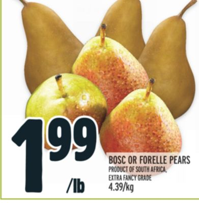 BOSC OR FORELLE PEARS