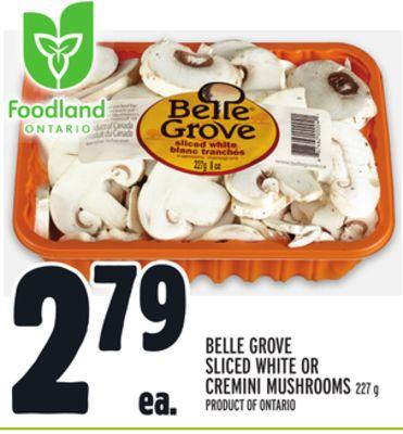 BELLE GROVE SLICED WHITE OR CREMINI MUSHROOMS