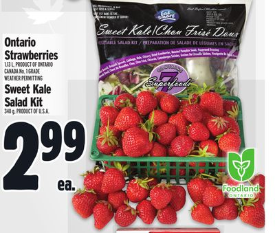 Ontario Strawberries 1.13 L, PRODUCT OF ONTARIO CANADA No. 1 GRADE WEATHER PERMITTING OR Sweet Kale Salad Kit 340 g, PRODUCT OF U.S.A.