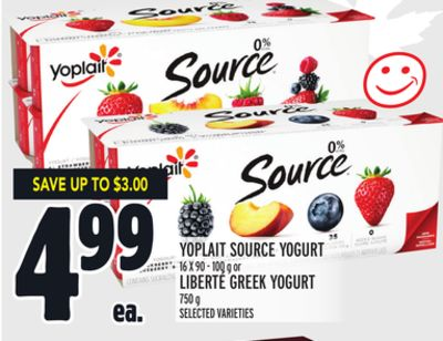YOPLAIT SOURCE YOGURT 16 X 90 - 100 g or LIBERTÉ GREEK YOGURT 750 g