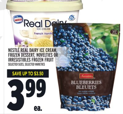 NESTLÉ REAL DAIRY ICE CREAM, FROZEN DESSERT, NOVELTIES OR IRRESISTIBLES FROZEN FRUIT