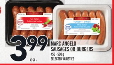 MARC ANGELO SAUSAGES OR BURGERS