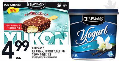 CHAPMAN'S ICE CREAM, FROZEN YOGURT OR YUKON NOVELTIES