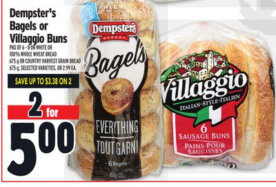 Dempster's Bagels or Villaggio Buns