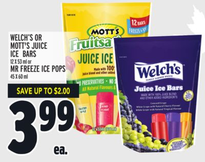 WELCH'S OR MOTT'S JUICE ICE BARS 12 X 53 ml or MR FREEZE ICE POPS 45 X 60 ml