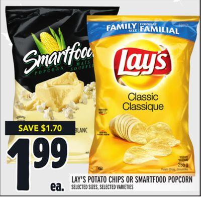 LAY'S POTATO CHIPS OR SMARTFOOD POPCORN