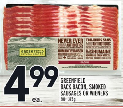GREENFIELD BACK BACON, SMOKED SAUSAGES OR WIENERS