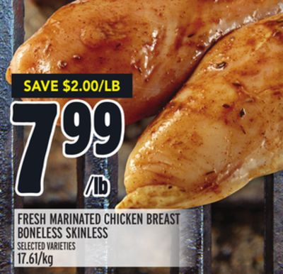 FRESH MARINATED CHICKEN BREAST BONELESS SKINLESS