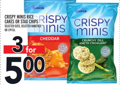 CRISPY MINIS RICE CAKES OR STAX CHIPS