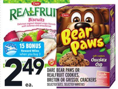 DARE BEAR PAWS OR REALFRUIT COOKIES, BRETON OR GRISSOL CRACKERS