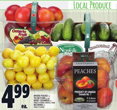 ONTARIO PEACHES 3 L, YELLOW PLUMS 1.5 L OR BASKET CUCUMBERS 3 L, NECTARINES 2 L