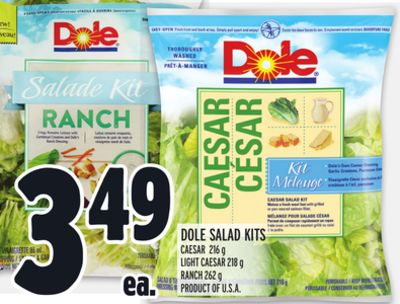 DOLE SALAD KITS CAESAR 216 g LIGHT CAESAR 218 g RANCH 262 g