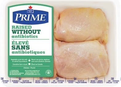 MAPLE LEAF PRIME RAISED WITHOUT ANTIBIOTICS FRESH CHICKEN DRUMSTICKS, THIGHS OR WHOLE CHICKEN