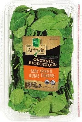ATTITUDE ORGANIC BABY SPINACH OR SPRING MIX SALADS