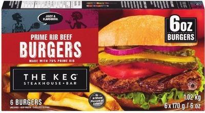 THE KEG PRIME RIB BURGERS