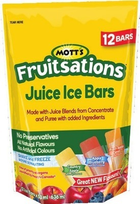 MOTT'S FRUITSATIONS OR WELCH'S PREMIUM JUICE ICE BARS