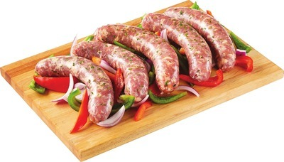 HOT OR MILD SAUSAGES WITH PEPPERS AND ONION