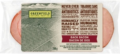 GREENFIELD NATURAL MEAT CO. BACK BACON, WIENERS OR SMOKED SAUSAGE