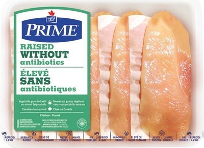 MAPLE LEAF PRIME RAISED WITHOUT ANTIBIOTICS FRESH CHICKEN BREAST CUTLETS OR FILLETS