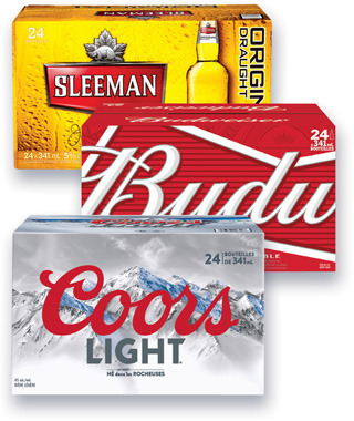 BIÈRE MOLSON COORS LIGHT, CANADIAN, DRY, LABATT BUD LIGHT, BUDWEISER, BLEUE, SLEEMAN LIGHT, SLEEMAN ORIGINAL DRAUGHT | BEER