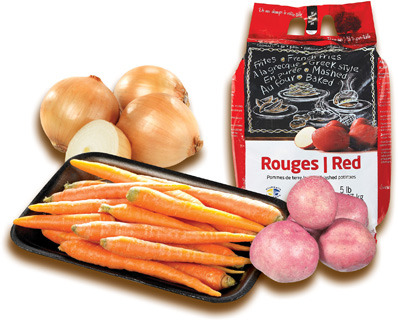 POMMES DE TERRE RUSSET, ROUGES, JAUNES, ROUGES À CHAIR JAUNE, OIGNONS JAUNES | RUSSET RED, YELLOW, RED-YELLOW FLESH POTATOES, YELLOW ONIONS, NANTES CARROTS