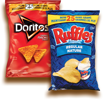 CROUSTILLES RUFFLES | RUFFLES POTATO CHIPS, DORITOS TORTILLA CHIPS