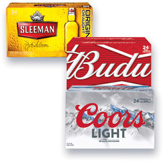 BIÈRE MOLSON COORS LIGHT, CANADIAN, EXPORT, LABATT BUD LIGHT, BUDWEISER, BLEUE, SLEEMAN LIGHT, SLEEMAN ORIGINAL DRAUGHT | BEER