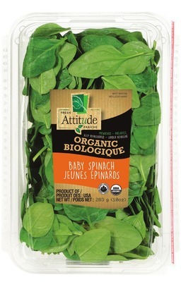 ATTITUDE ORGANIC SPRING MIX OR BABY SPINACH SALADS