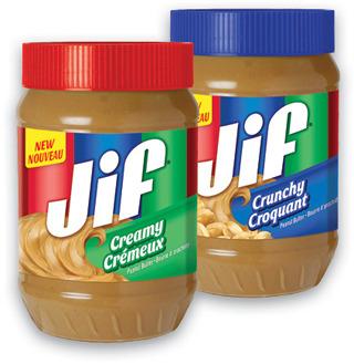 JIF CREAMY OR CRUNCHY PEANUT BUTTER