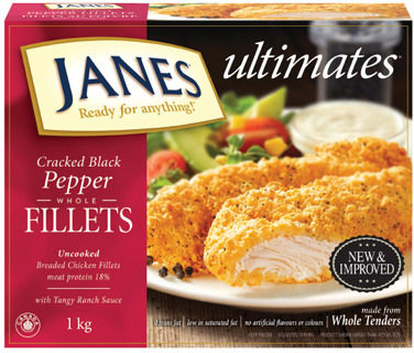 JANES CHICKEN BREAST FILLETS OR CRACKED BLACK PEPPER STRIPS
