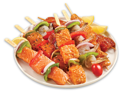 ATLANTIC SALMON OR SHRIMP KABOBS WITH VEGETABLES